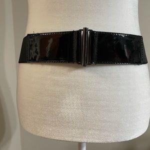 WHBM Black Patent Stretch Belt